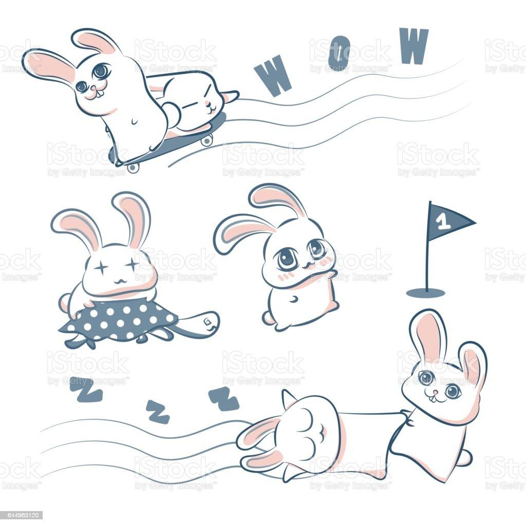 Sevimli Tavşan Ve Kaplumbağa El Vektör çizim çizimi Doodle Stok