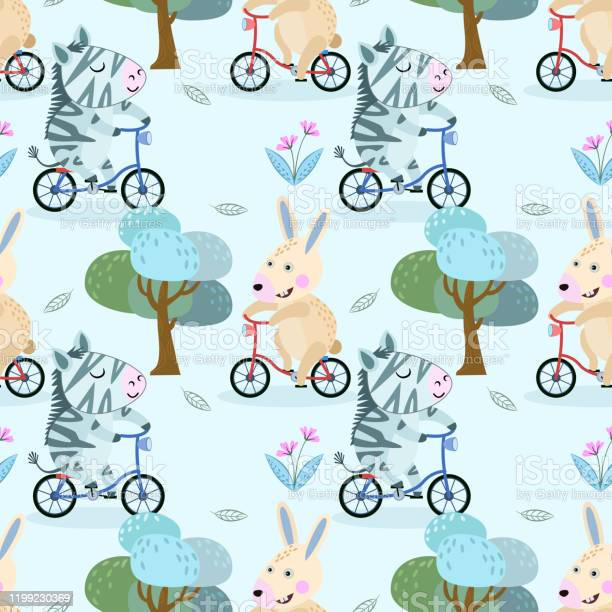 Cute rabbit and zebra on bicycle in the park seamless pattern vector id1199230369?b=1&k=6&m=1199230369&s=612x612&h=t2puohhikmgsensilj9eezqfdinbml0p9o2v3yyjbq4=