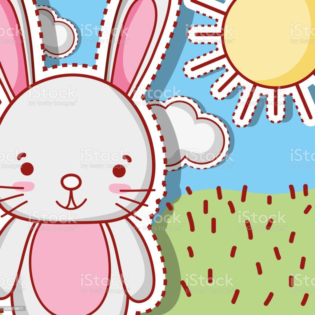 cute rabbit animal patch sticker design векторная иллюстрация