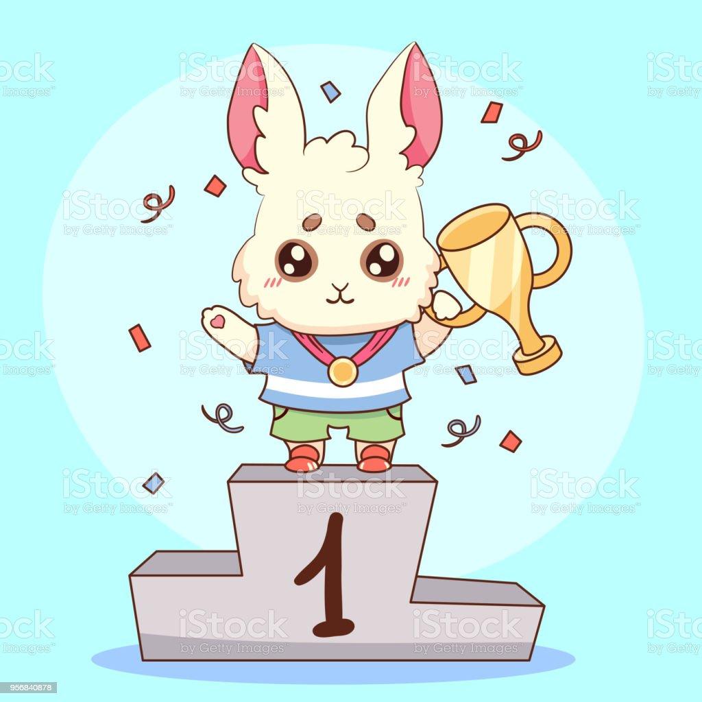 かわいいウサギのバニー チャンピオン メダルと炎のゴブレットはまず