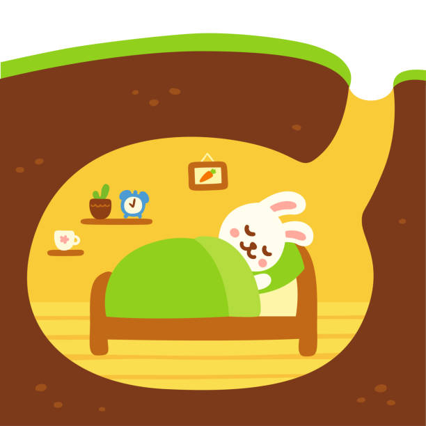 niedliche kaninchen graben - kaninchenbau stock-grafiken, -clipart, -cartoons und -symbole