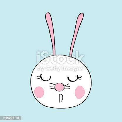 cute rabbit face design for T-shirt print cartoon vector eps.10