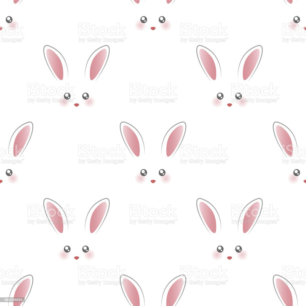 かわいいウサギの顔シームレスな壁紙 いたずら書きのベクターアート