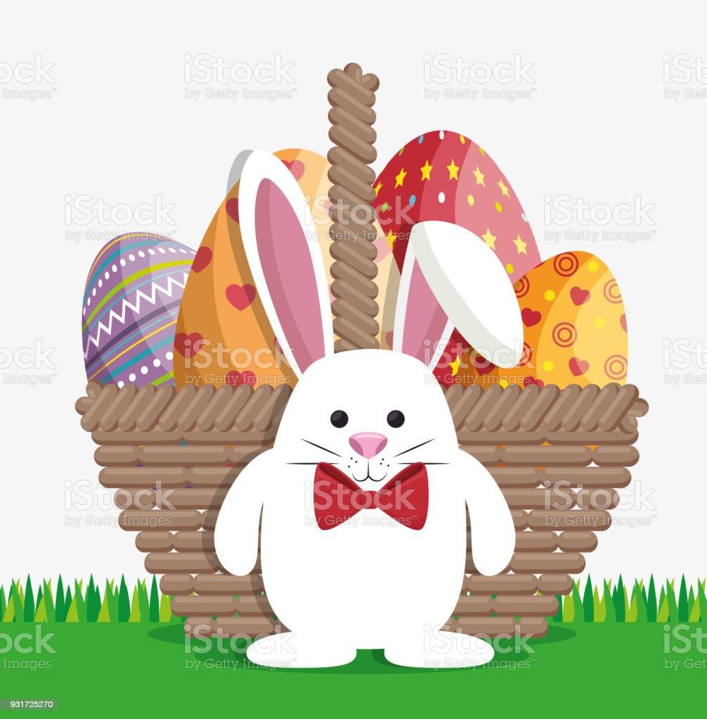 Niedlichen Kaninchen Frohe Ostern Stock Vektor Art Und Mehr Bilder