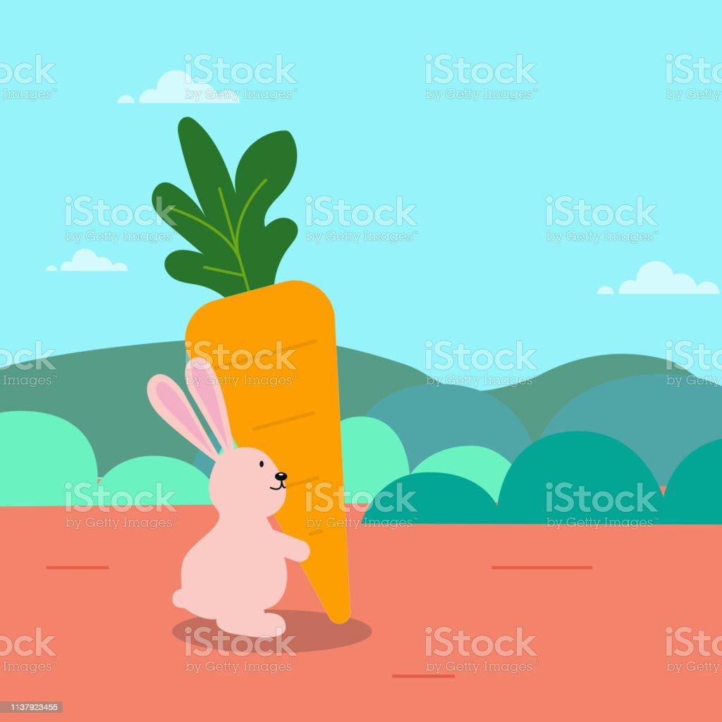 かわいいウサギは自然のシーンベクトルのイラストと大きなニンジン漫画を