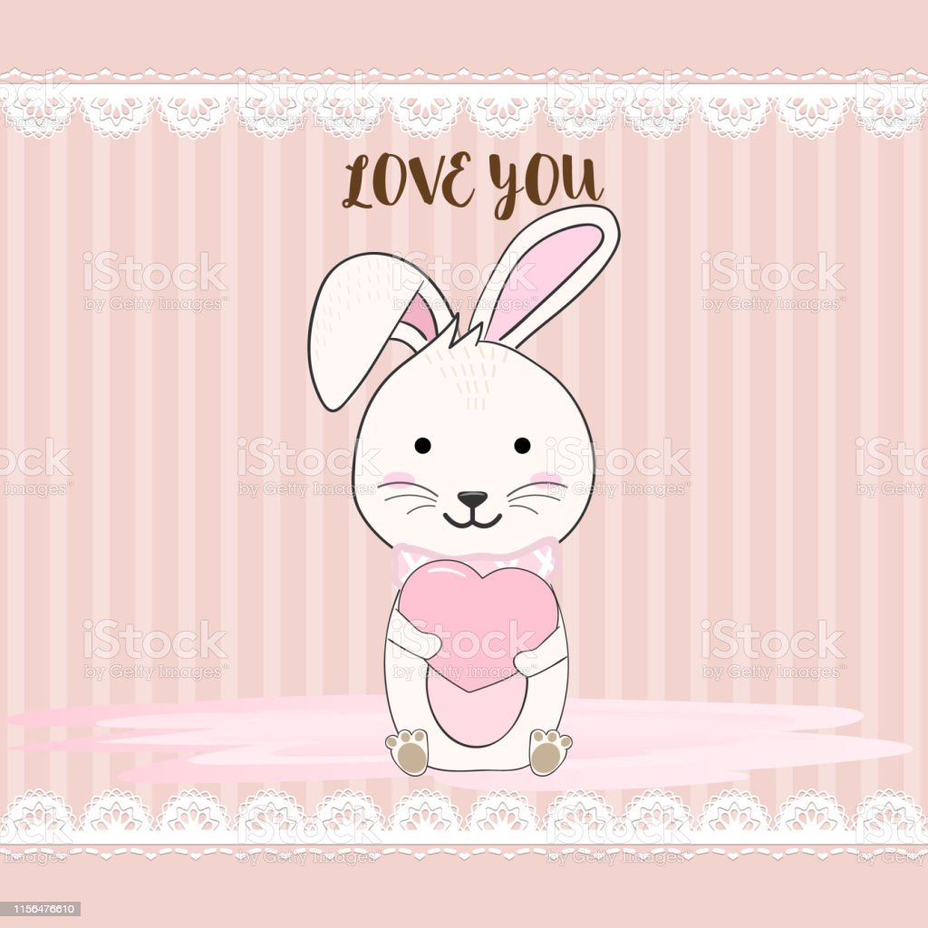 Cute rabbit huging heart with lace and strips line animal cartoon...