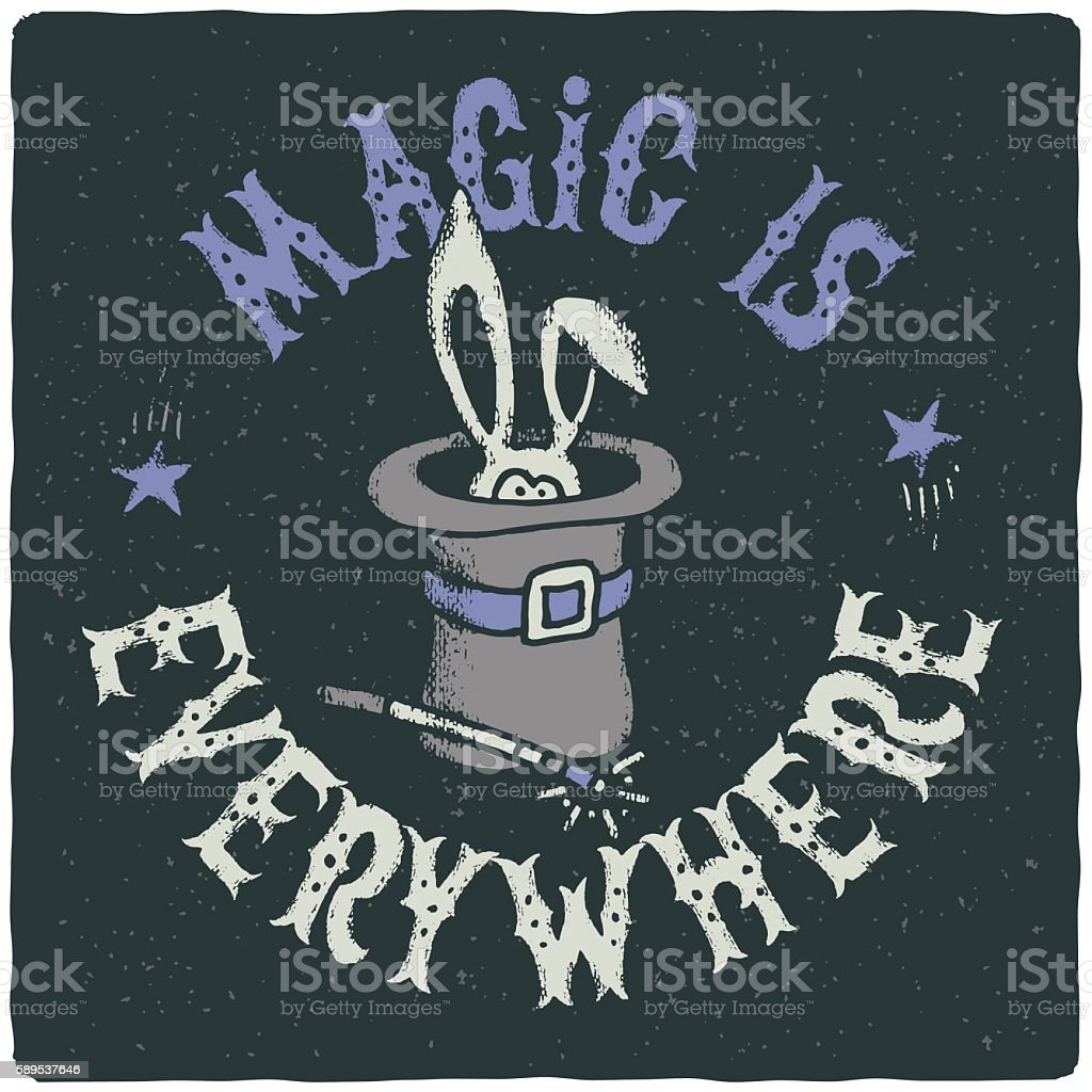 Cute Rabbit In A Wizard Cylinder Hat With A Wand Cliparts
