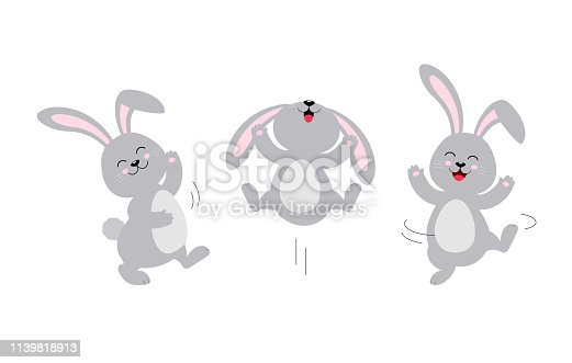 istock Cute rabbit jumping and dancing. 1139818913
