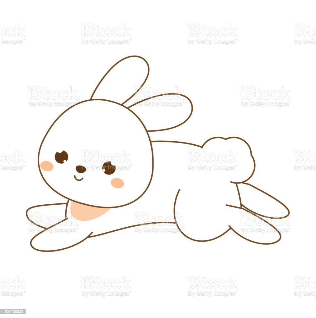Ilustración De Lindo Conejo Conejito Kawaii Blanca Liebre Saltando