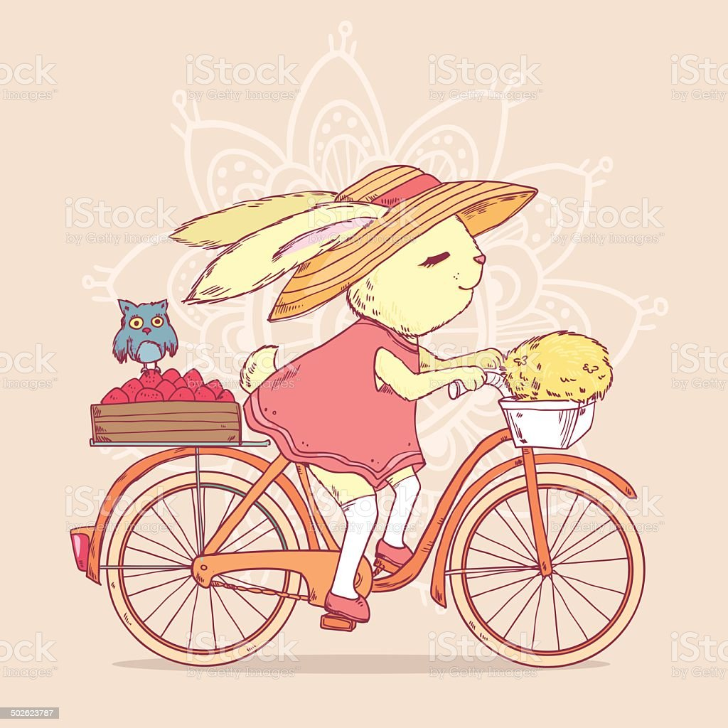 かわいい Rabbit 自転車に乗っている アナウサギのベクターアート素材