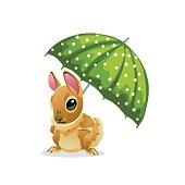 Cute rabbit under a green umbrella isolated on white background. Vector illustration of cartoon brown hare