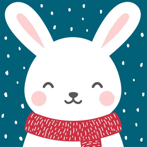 Cute rabbit winter theme card easter bunny face background, vector illustration rabbit animal stock illustrations
