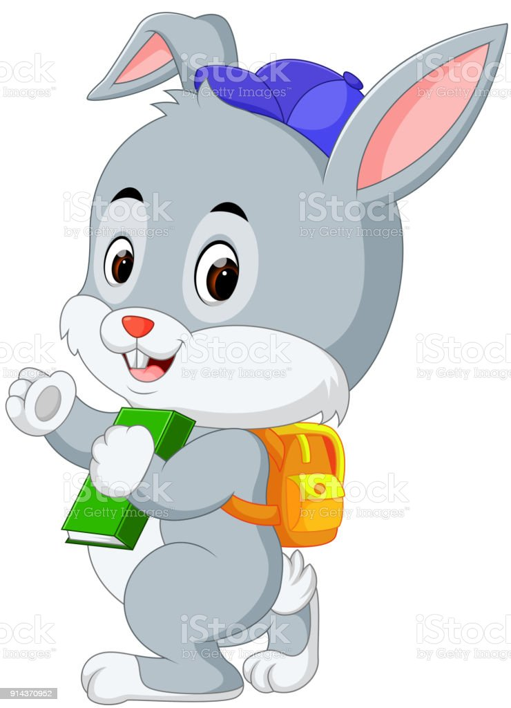 cute rabbit with backpack vector art illustration