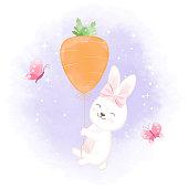 Cute rabbit with carrot balloon, hand drawn cartoon watercolor illustration