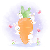Cute rabbit with carrot, hand drawn cartoon watercolor illustration