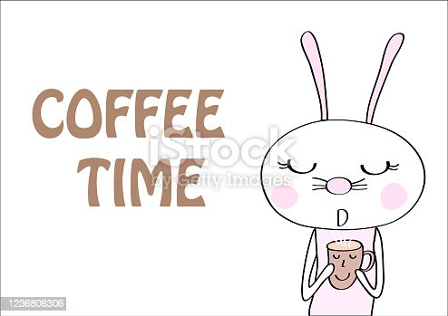 cute rabbit with coffee   vector eps.10
