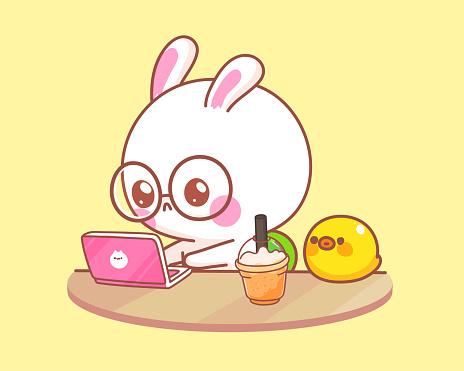 Cute rabbit with duck working on laptop cartoon illustration