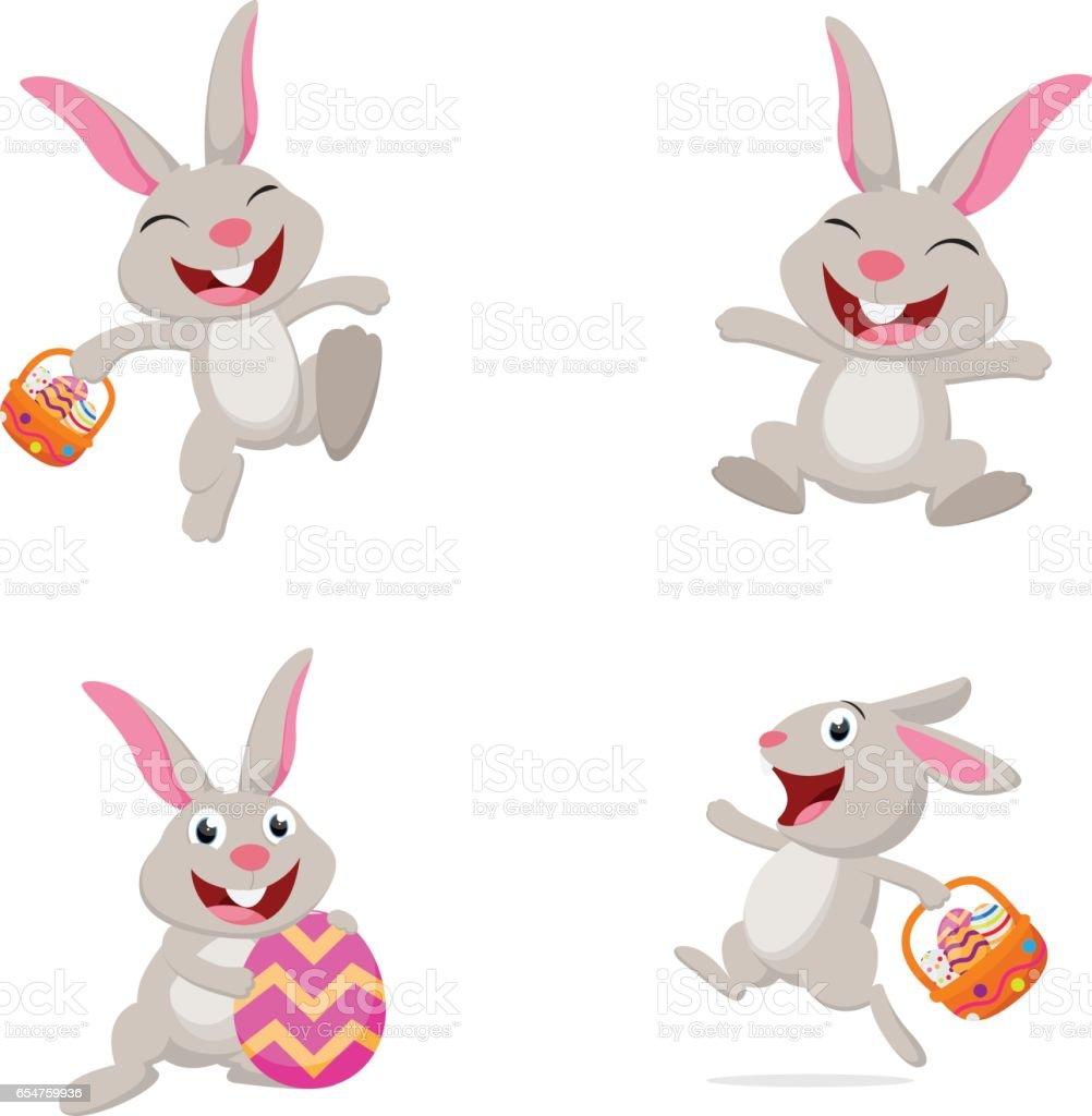 Niedlichen Kaninchen mit Osterei - Lizenzfrei April Vektorgrafik