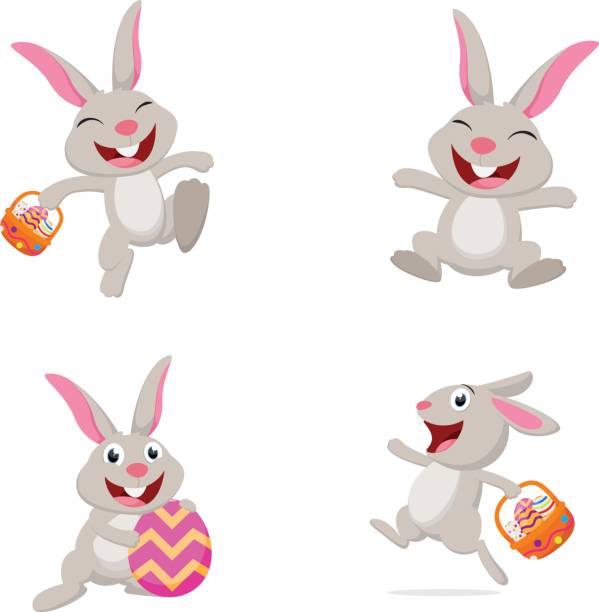 niedlichen kaninchen mit osterei - hase stock-grafiken, -clipart, -cartoons und -symbole