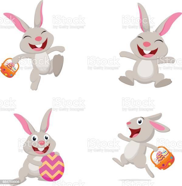 Niedlichen Kaninchen Mit Osterei Stock Vektor Art und mehr Bilder von April