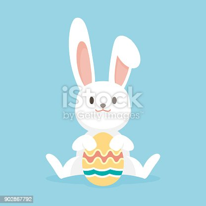 Cute rabbit with easter eggs, Happy Easter bunny, vector illustration.