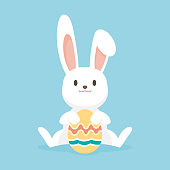 istock Cute rabbit with easter eggs, Happy Easter bunny, vector illustration. 902867792
