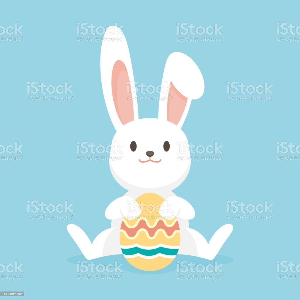 Mignon lapin avec oeufs de Pâques, lapin de Pâques Joyeux, vector illustration. - Illustration vectorielle