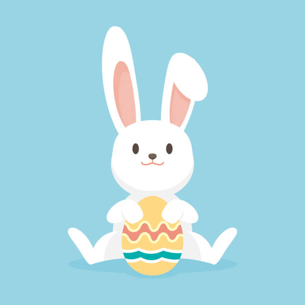 Cute rabbit with easter eggs, Happy Easter bunny, vector illustration. vector art illustration