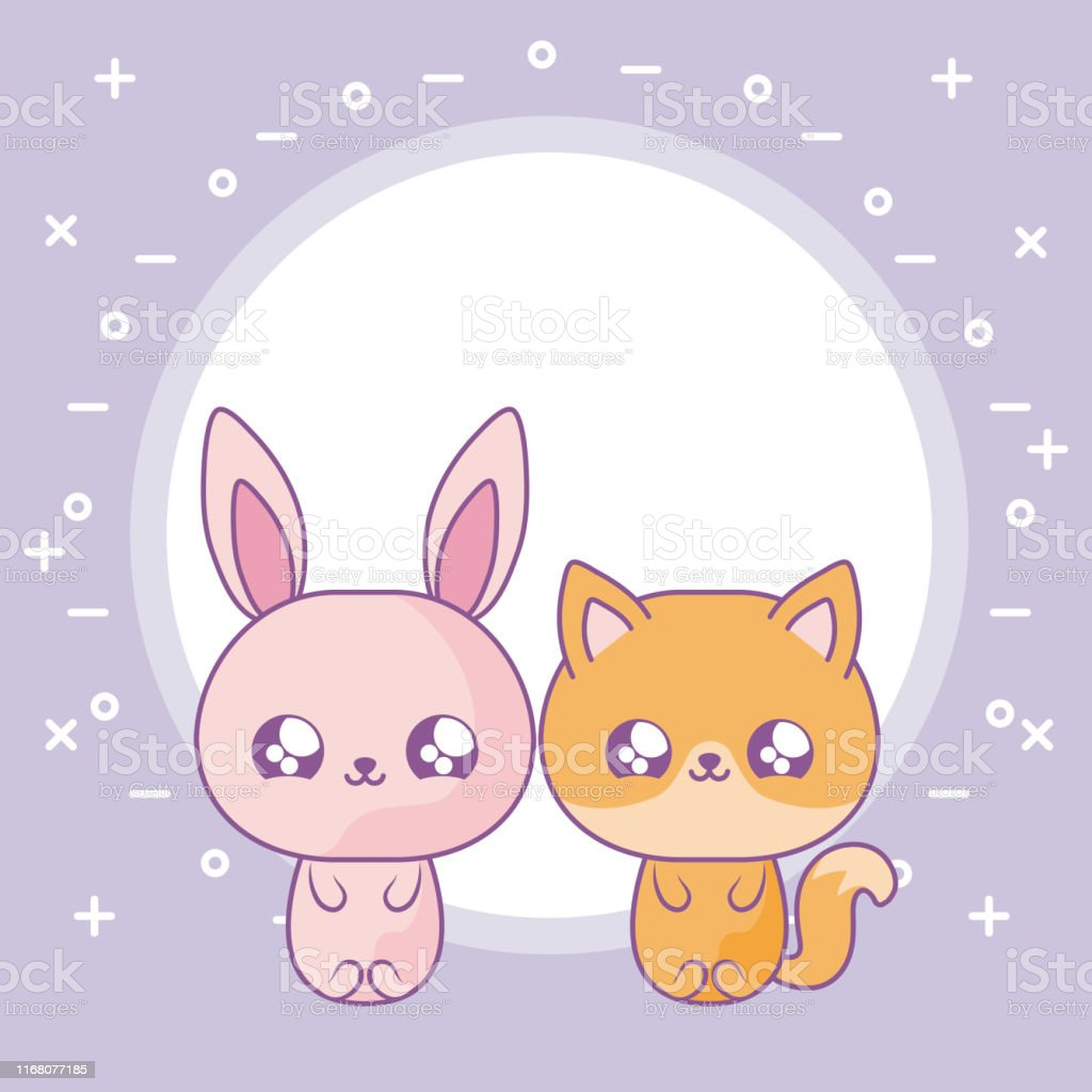 Cute Rabbit With Fox Baby Animals Kawaii Style Stock Illustration Download Image Now Istock