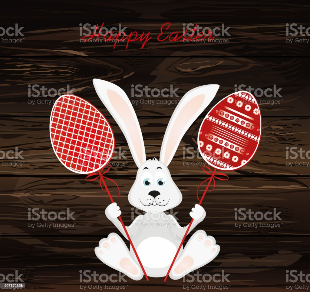 Cute rabbit with of Easter eggs on stick. Happy hare. An invitation to a holiday. Vector on wooden background. Free space for text - Royalty-free Animal stock vector