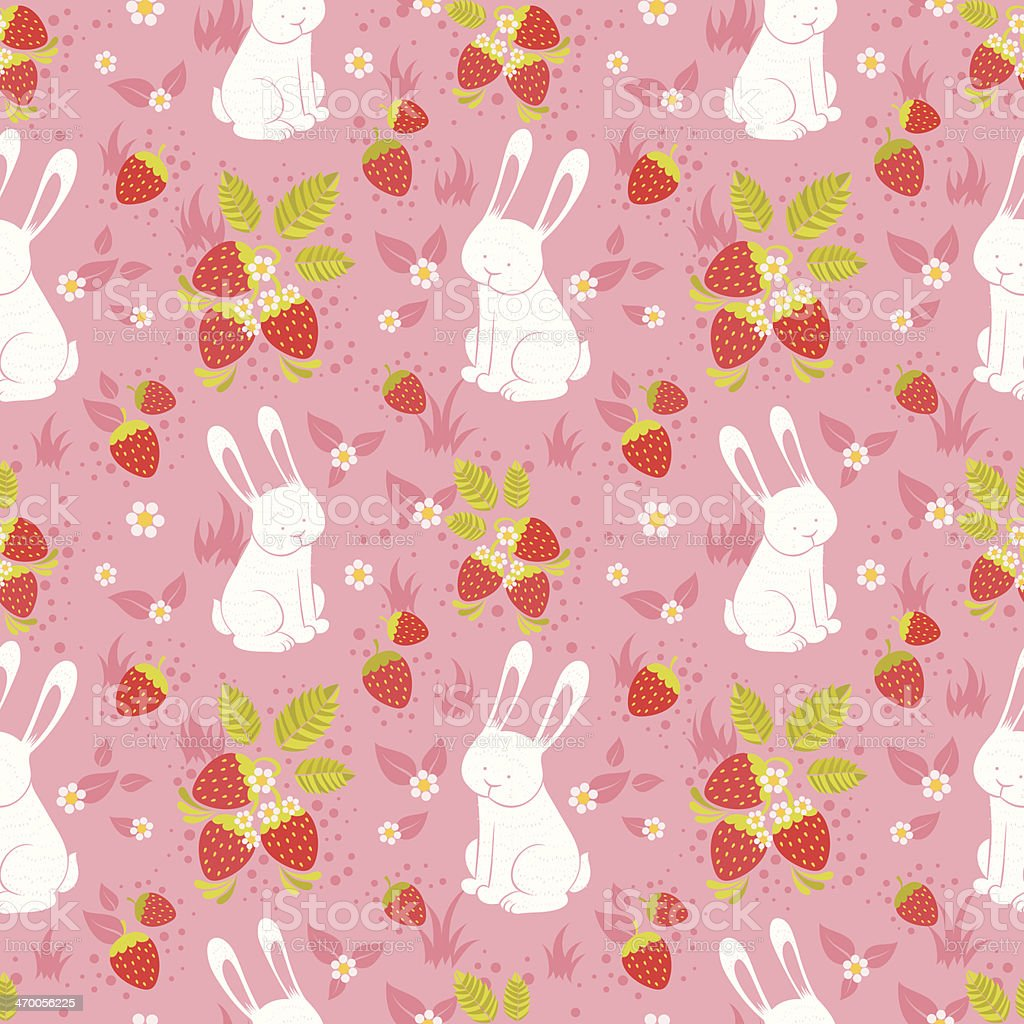 Cute rabbits and wild strawberries folk seamless pattern royalty-free cute rabbits and wild strawberries folk seamless pattern stock vector art & more images of abstract