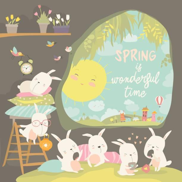 niedlichen kaninchen erwachen im loch. hallo frühling - kaninchenbau stock-grafiken, -clipart, -cartoons und -symbole