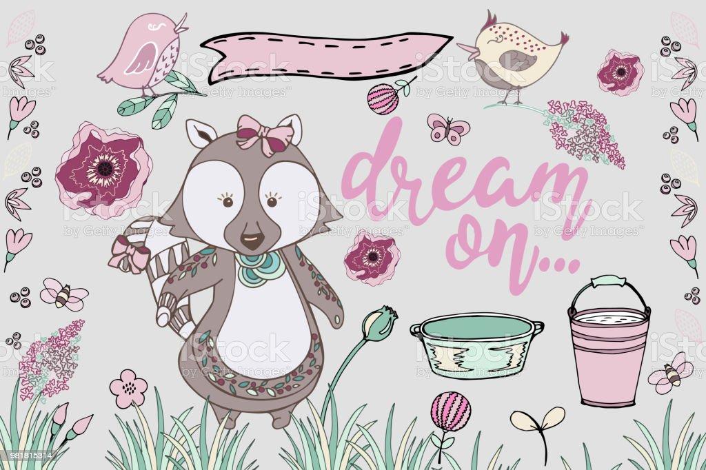 かわいいアライグマ動物手描きイラスト セット いたずら書きのベクター