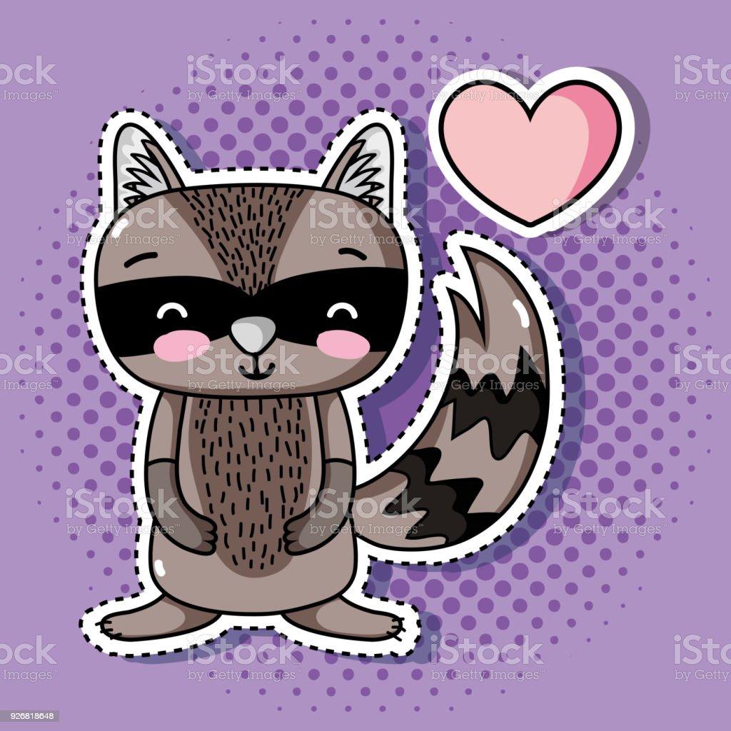 cute raccoon animal patch sticker design векторная иллюстрация
