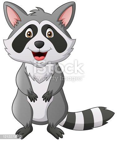 istock Cute raccoon cartoon 1212273112