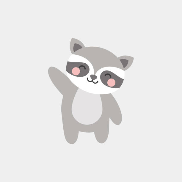 cute raccoon character vector design greeting card, invitation, greeting card, poster, with cute, cartoon hand drawn watercolor background raccoon stock illustrations