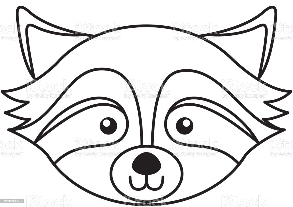 Cute Raccoon Face Cartoon Stock Illustration - Download ... Raccoon Face Coloring Pages