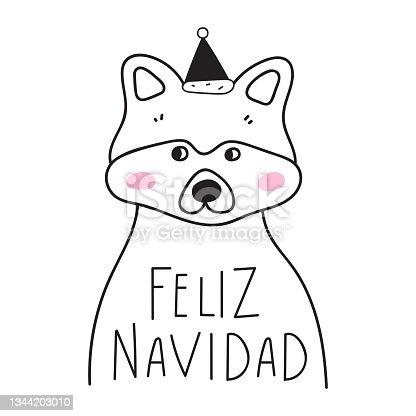 istock Cute raccoon. Feliz Navidad it's means Happy Christmas in Spanish. 1344203010