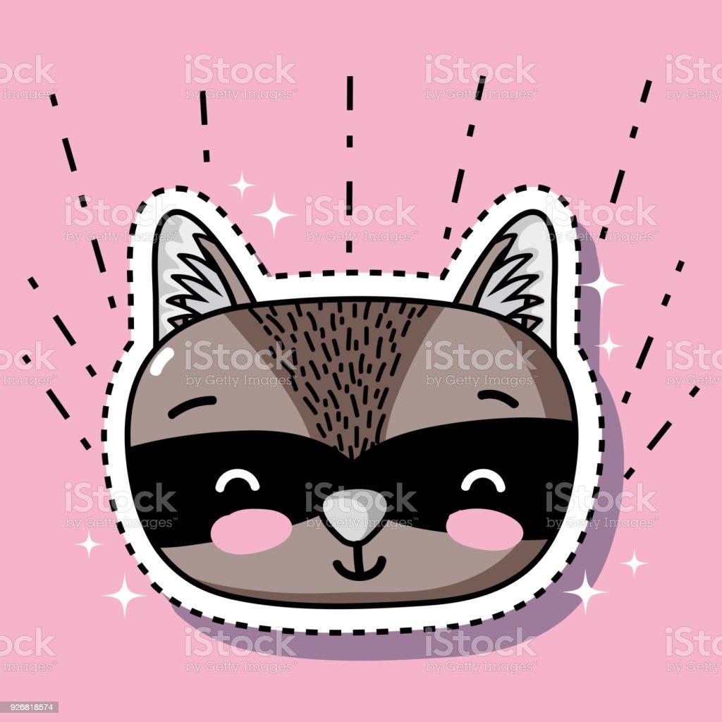 cute raccoon head animal patch sticker векторная иллюстрация