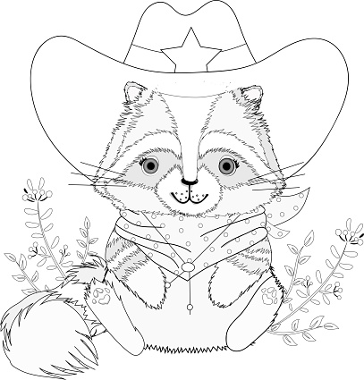 Cute raccoon in a sheriff's suit. The animal wears a cowboy hat with a sheriff's star and a red headscarf. Black and white vector illustration for coloring book