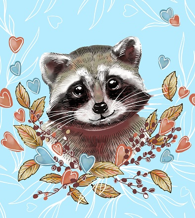 Cute raccoon in autumn leaves. An illustration in the style of a watercolor sketch. Seamless pattern