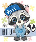 Cute cartoon Raccoon in a cap isolated on a white background
