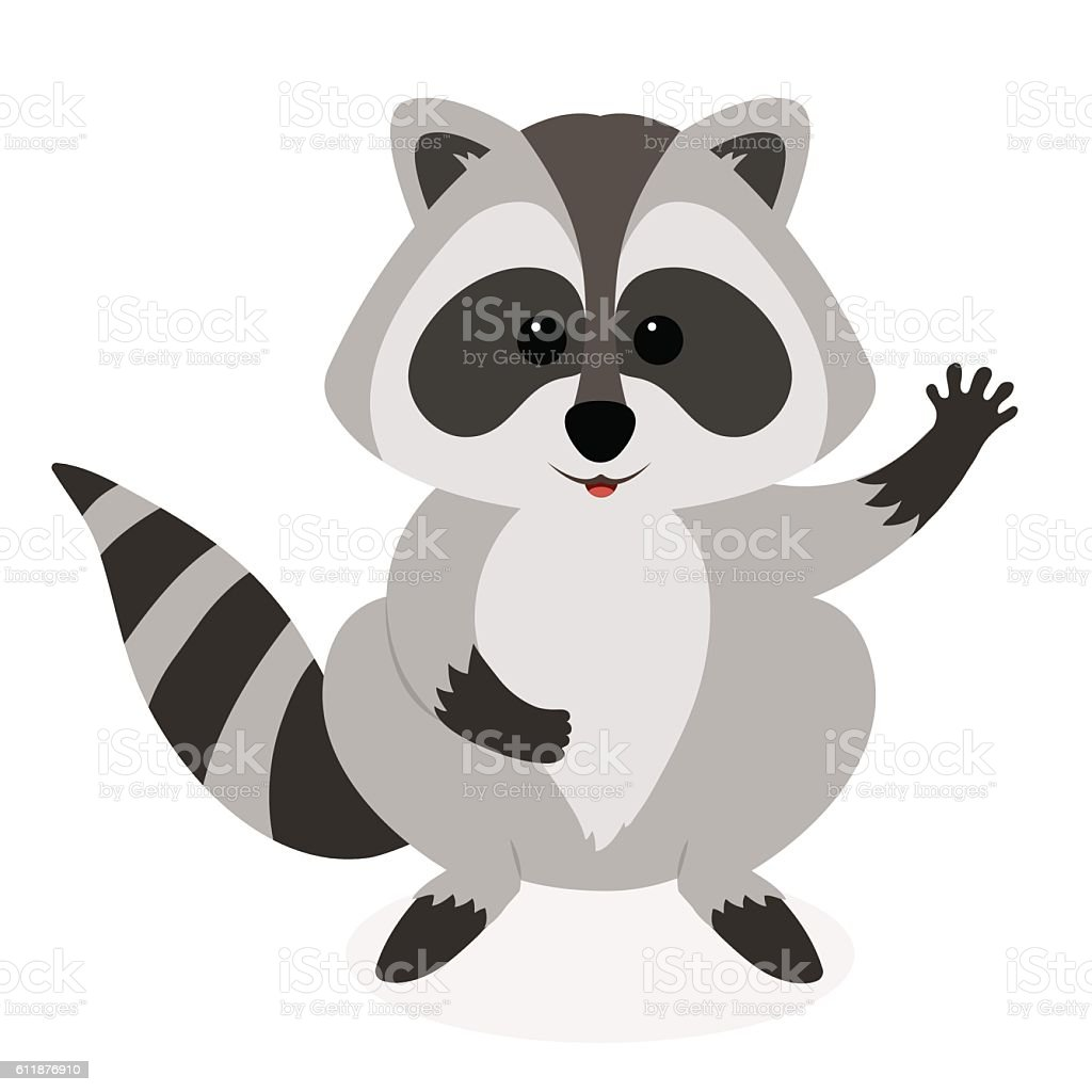 Cute Raccoon Waving Vector Cartoon Illustration Stock ... Raccoon Face Clip Art Black And White