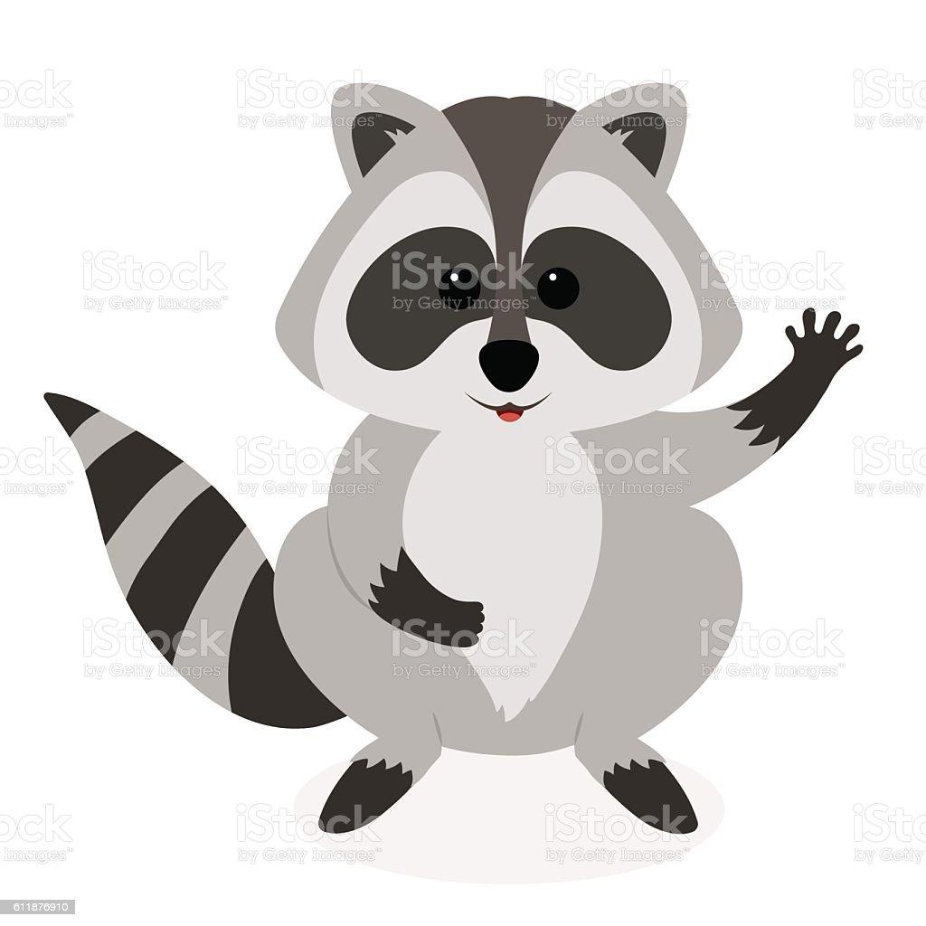 Cute Raccoon Waving Vector Cartoon Illustration Stock ... Raccoon Face Clip Art