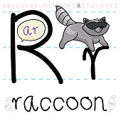Mischievous raccoon with its traditional fur mask jumping between letters R, learning the alphabet.