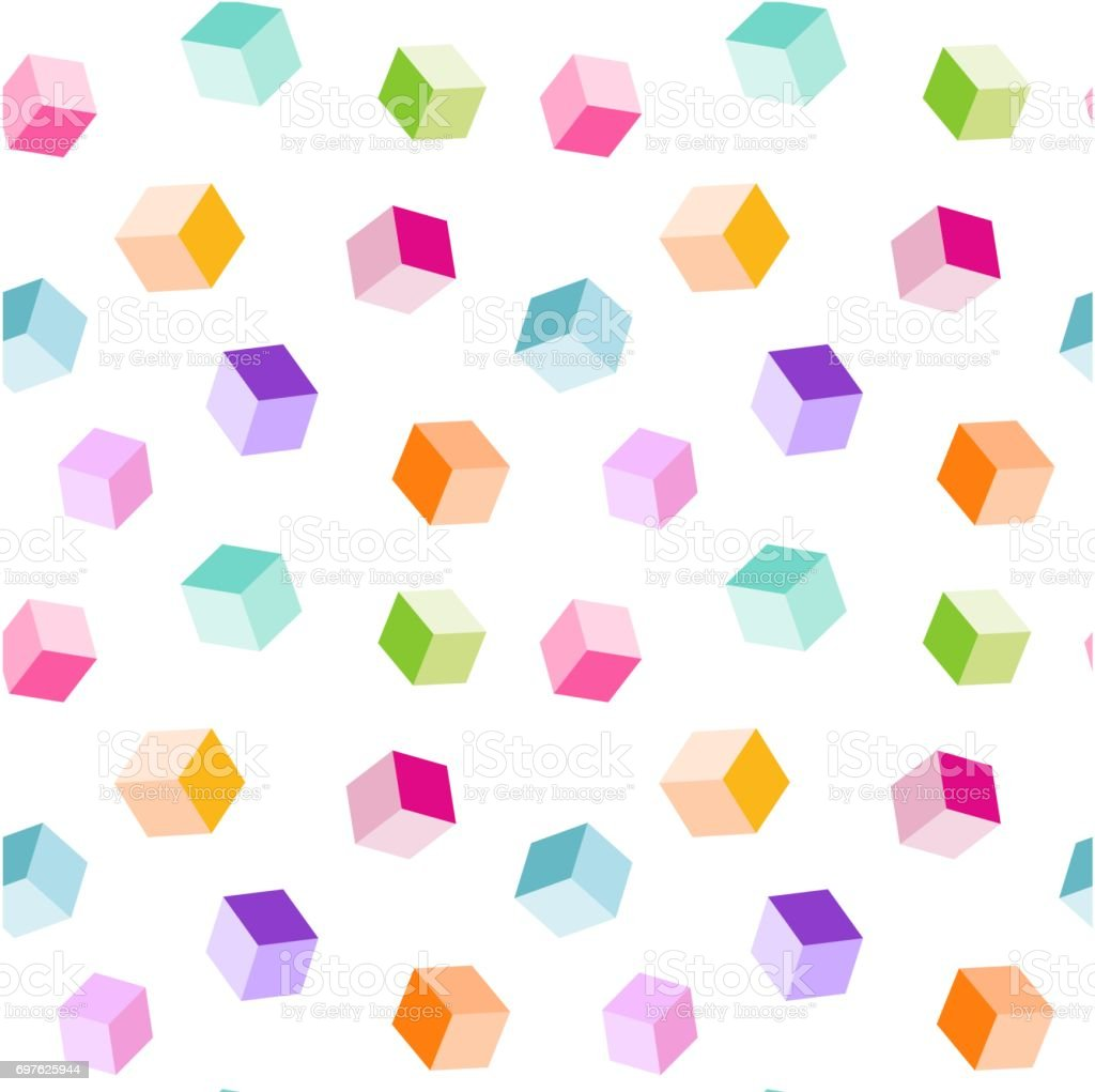 かわいいレインボー カラー キューブ シームレスなベクトル パターン背景