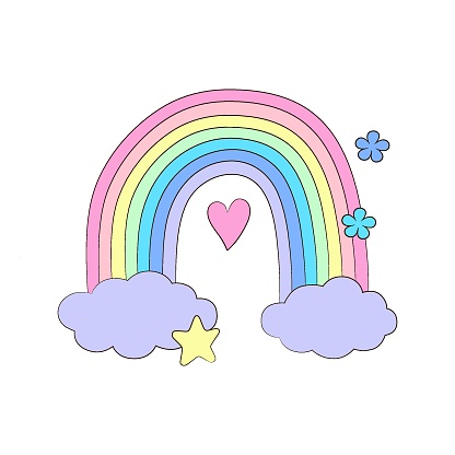 Cute rainbow. Hand drawn art.