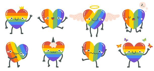 Cute rainbow hearts. Happy smiling lgbtq rainbow heart characters, gay pride rainbow heart mascots. Hand drawn lgbt heart emoji vector illustration set