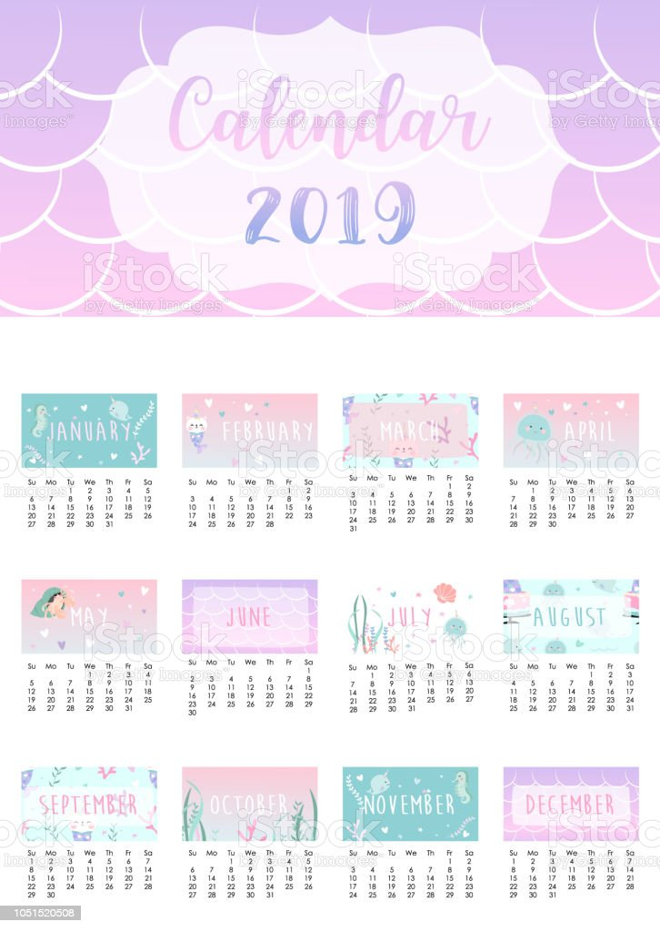 cute rainbow monthly calendar 2019 with