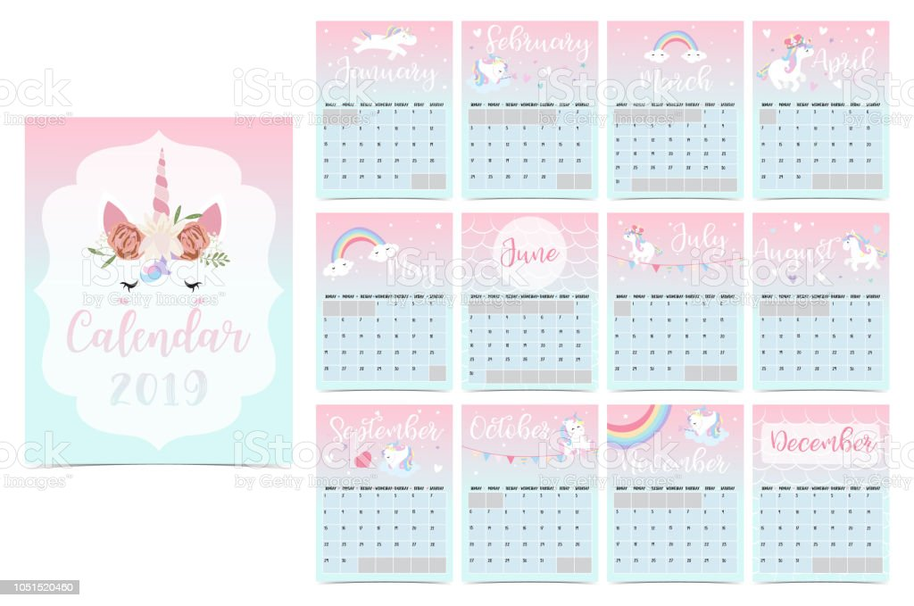 Cute Rainbow Monthly Calendar 2019 With Unicornheadstarheart And